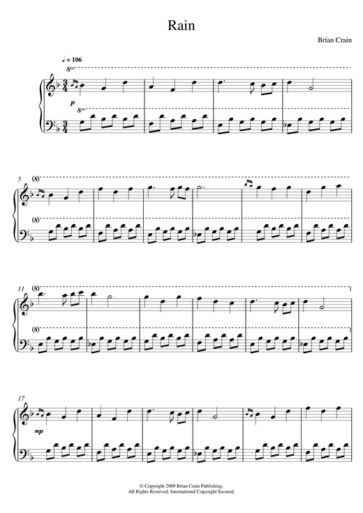 Brian Crain Rain sheet music notes and chords. Download Printable PDF.