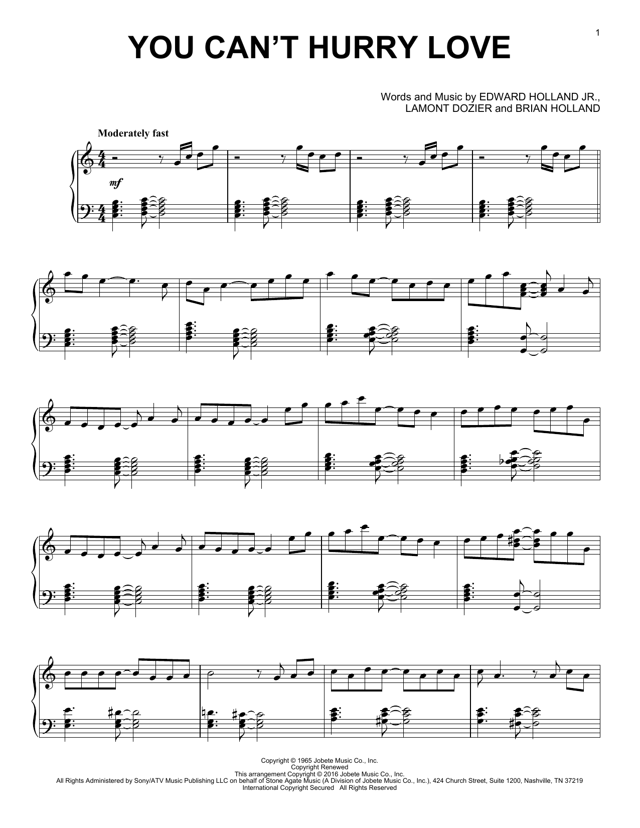 Brian Holland You Can't Hurry Love sheet music notes and chords