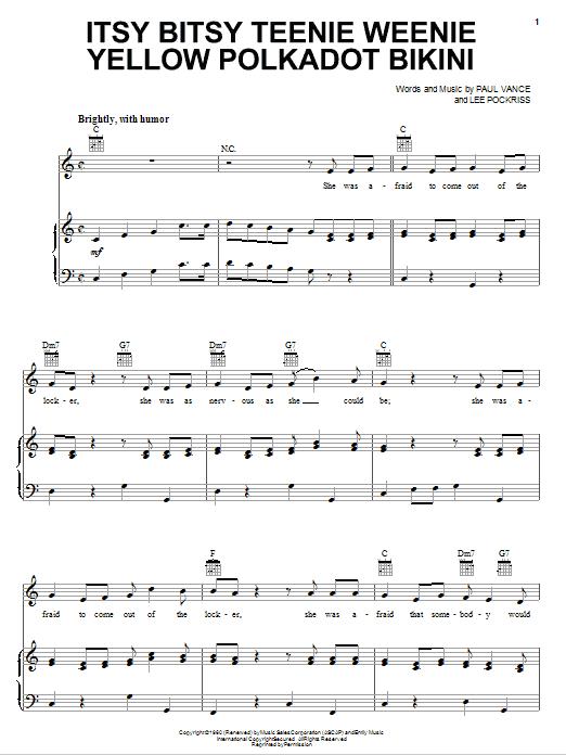 Brian Hyland Itsy Bitsy Teenie Weenie Yellow Polkadot Bikini sheet music notes and chords. Download Printable PDF.