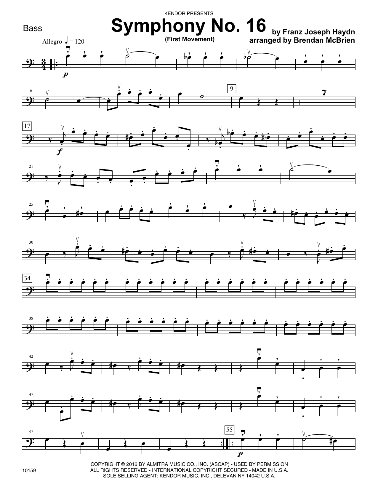 Brian McBrien Symphony No. 16 (First Movement) - Bass sheet music notes and chords. Download Printable PDF.