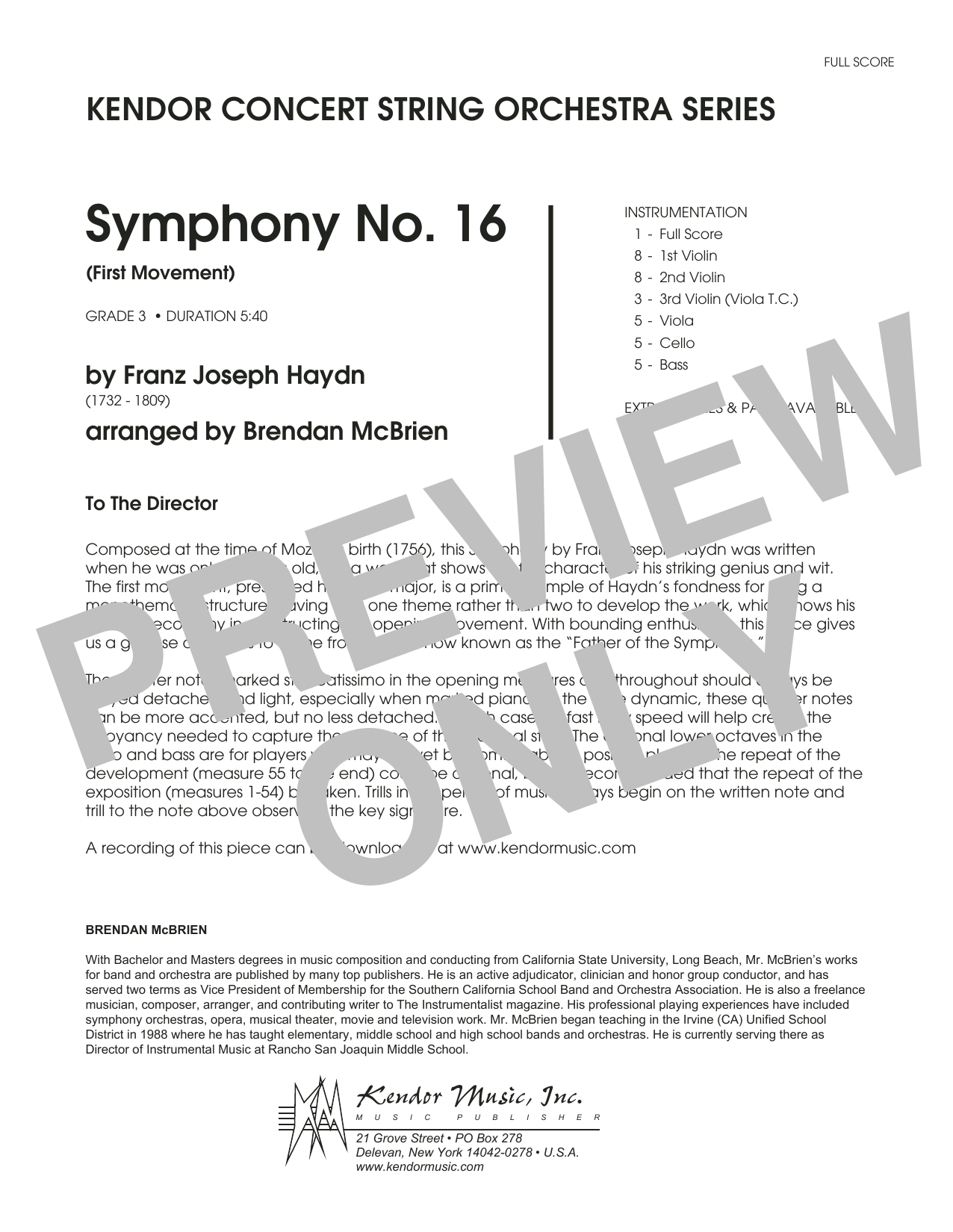 Brian McBrien Symphony No. 16 (First Movement) - Full Score sheet music notes and chords. Download Printable PDF.
