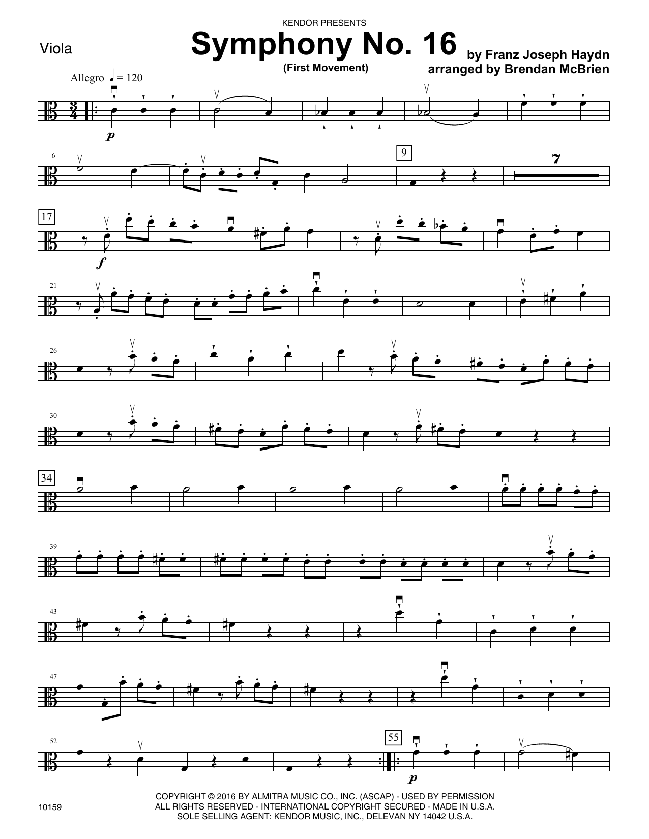 Brian McBrien Symphony No. 16 (First Movement) - Viola sheet music notes and chords. Download Printable PDF.