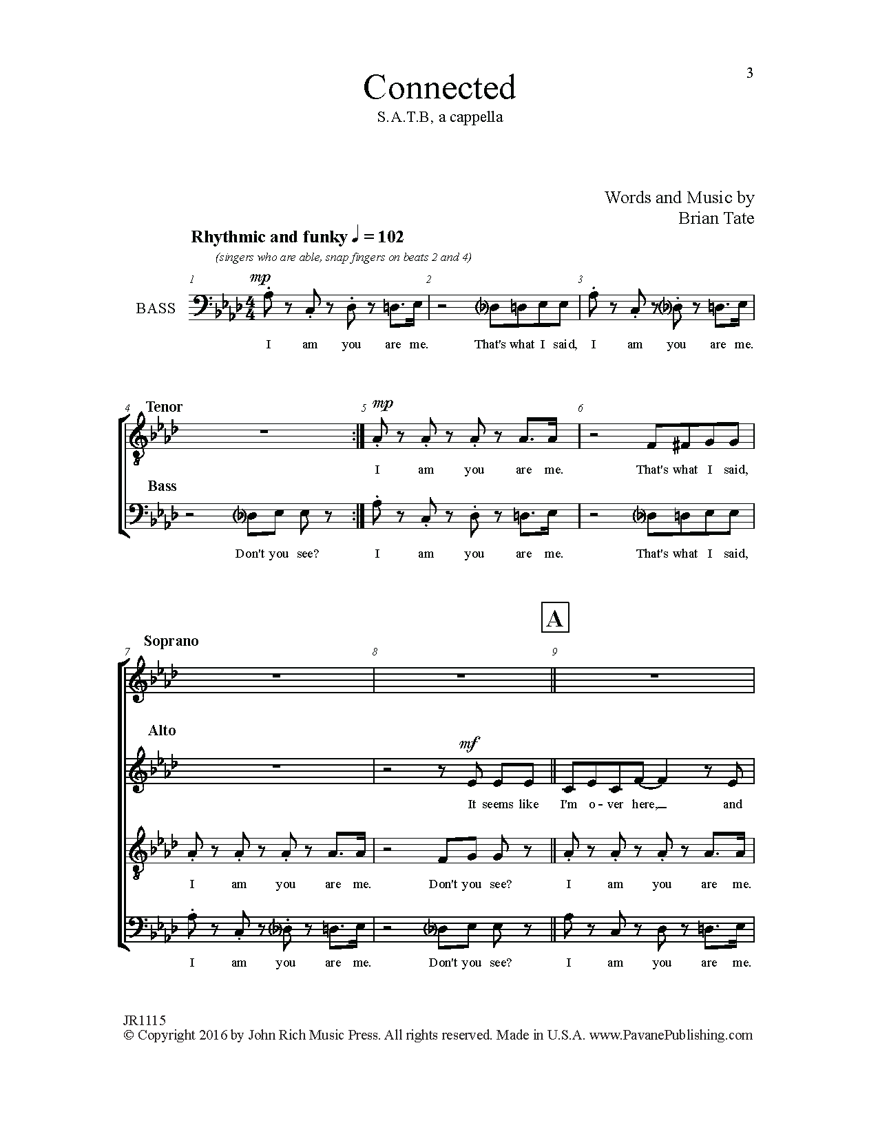 Brian Tate Connected sheet music notes and chords. Download Printable PDF.