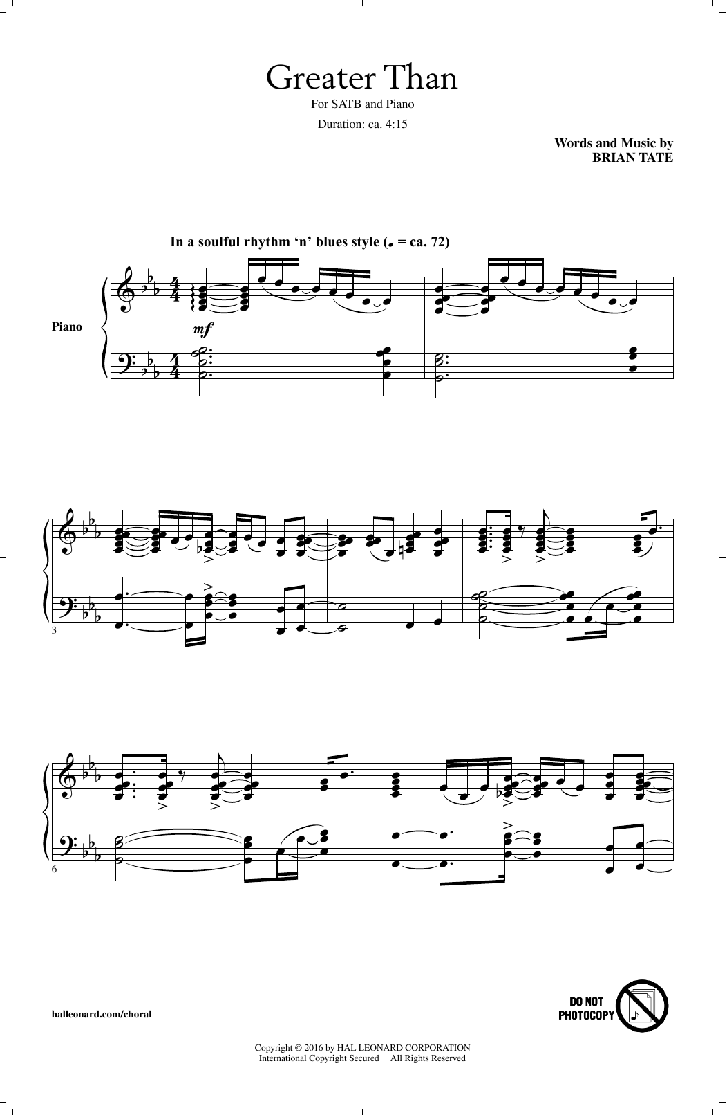 Brian Tate Greater Than sheet music notes and chords. Download Printable PDF.