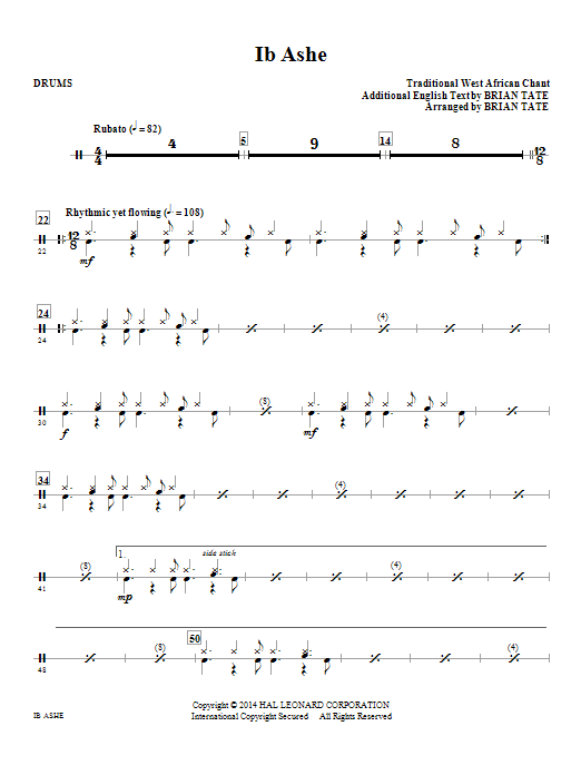 Brian Tate Ib Ashe - Drums sheet music notes and chords. Download Printable PDF.