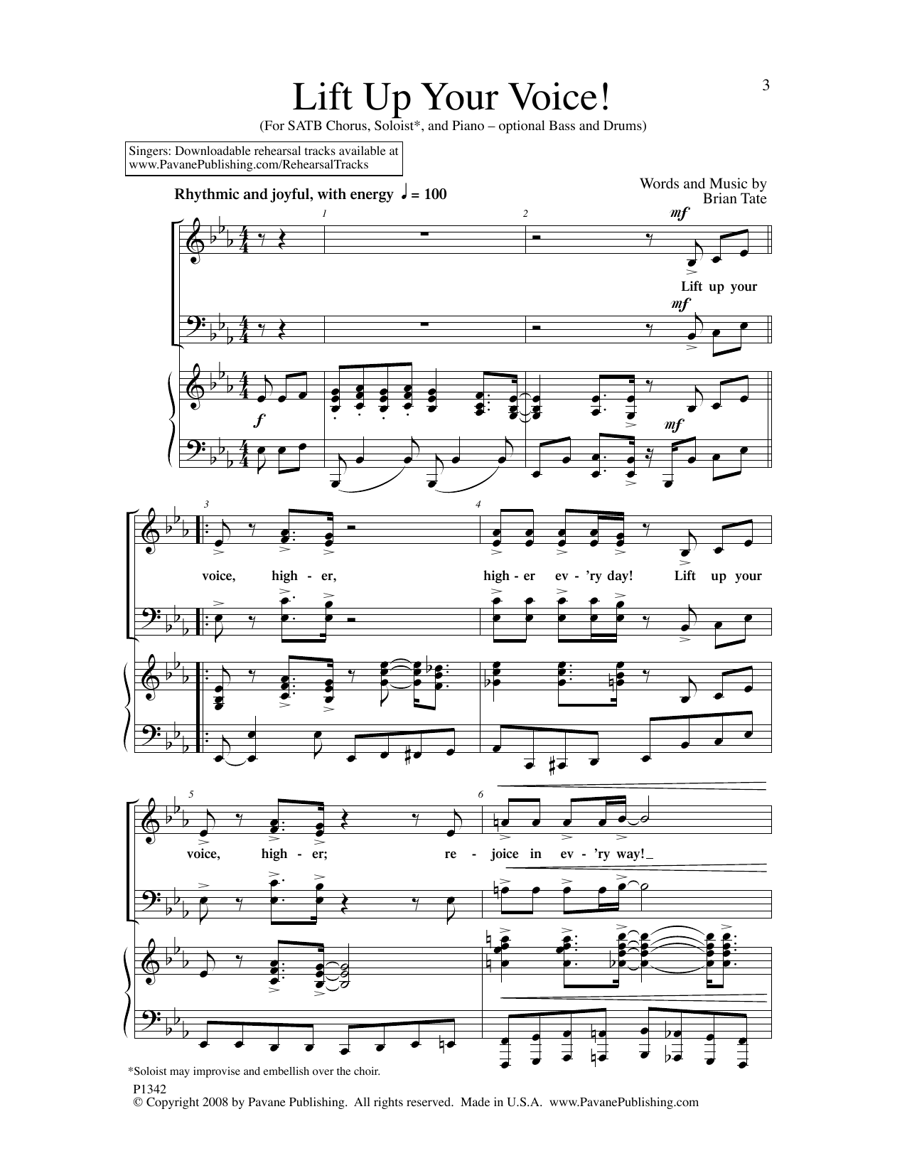 Brian Tate Lift Up Your Voice! sheet music notes and chords. Download Printable PDF.