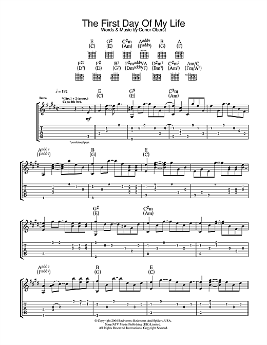 Bright Eyes First Day Of My Life sheet music notes and chords. Download Printable PDF.