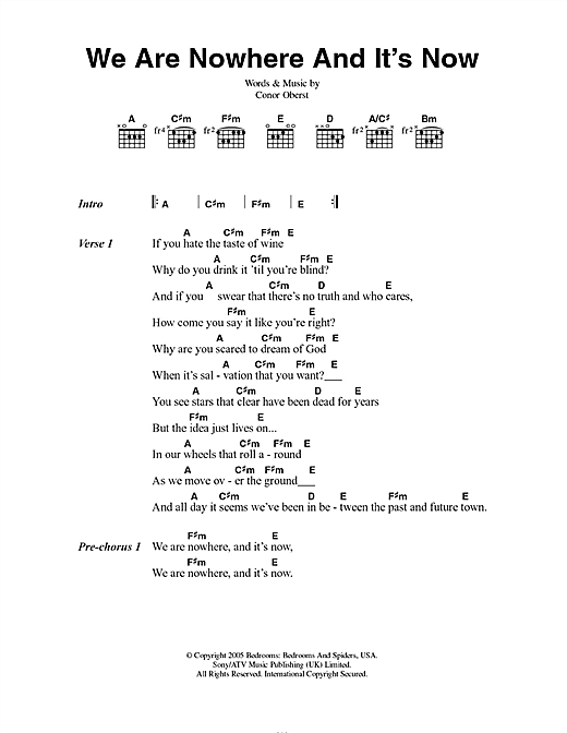 Bright Eyes We Are Nowhere And It's Now sheet music notes and chords. Download Printable PDF.