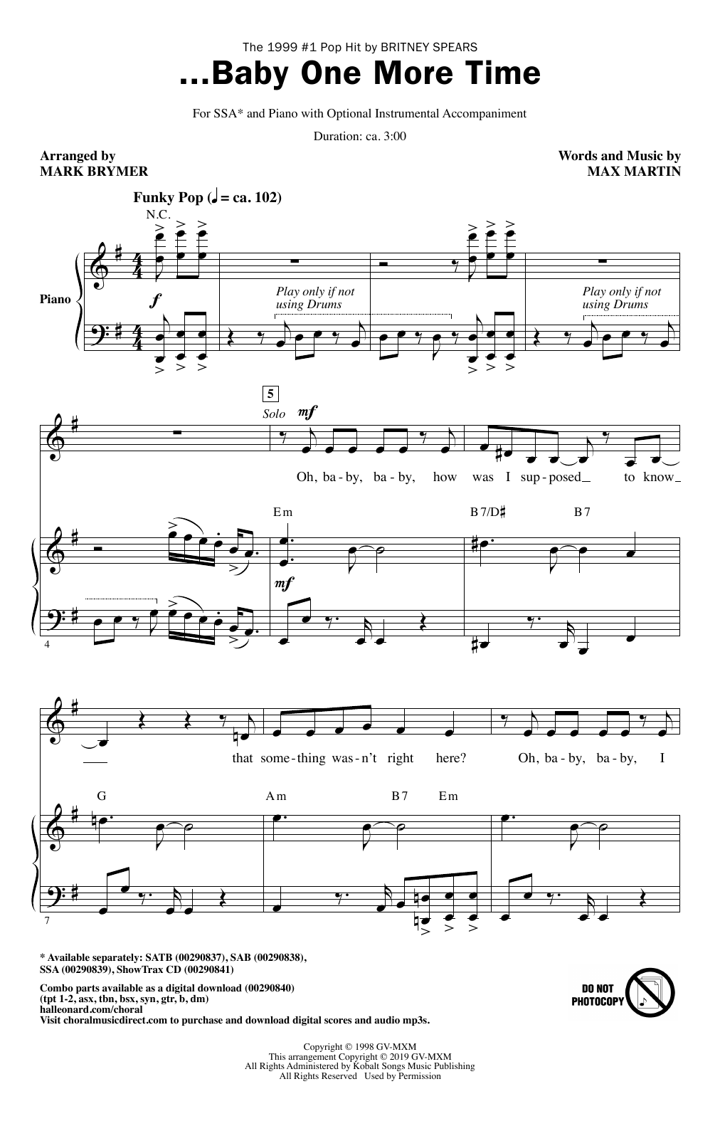Britney Spears ...Baby One More Time (arr. Mark Brymer) sheet music notes and chords. Download Printable PDF.