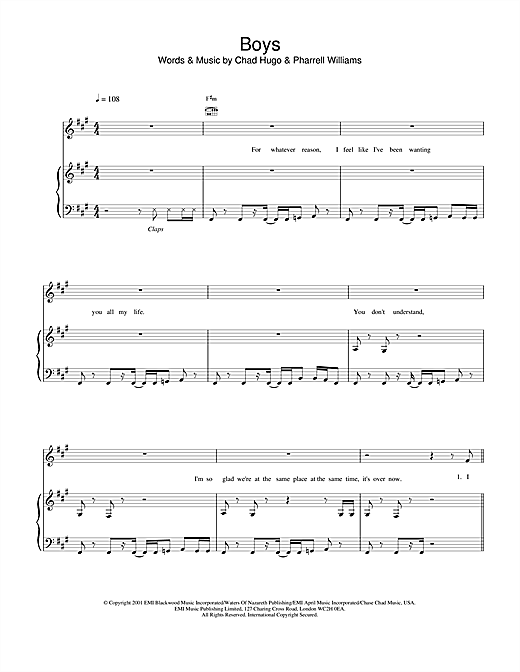 Britney Spears Boys sheet music notes and chords