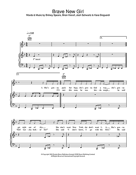 Britney Spears Brave New Girl sheet music notes and chords
