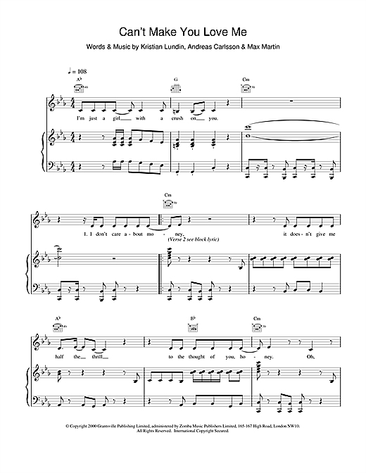 Britney Spears Can't Make You Love Me sheet music notes and chords