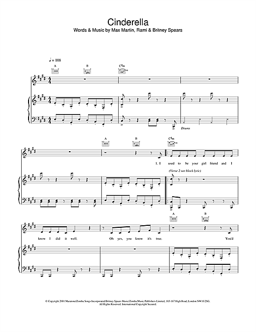 Britney Spears Cinderella sheet music notes and chords