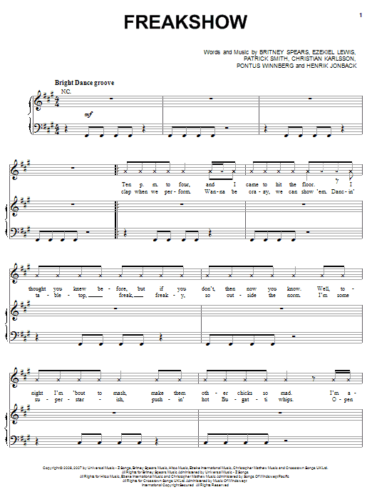 Britney Spears Freakshow sheet music notes and chords. Download Printable PDF.