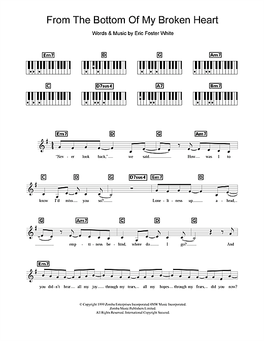 Britney Spears From The Bottom Of My Broken Heart sheet music notes and chords. Download Printable PDF.