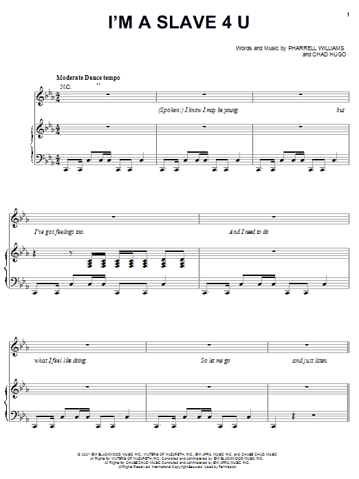 Britney Spears I M A Slave 4 U Sheet Music Pdf Notes Chords Pop Score Piano Vocal Guitar Right Hand Melody Download Printable Sku 19085
