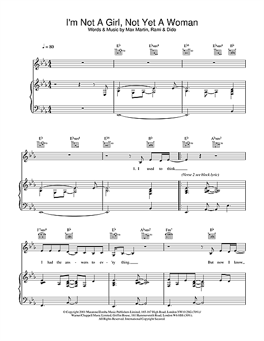 Britney Spears I'm Not A Girl, Not Yet A Woman sheet music notes and chords