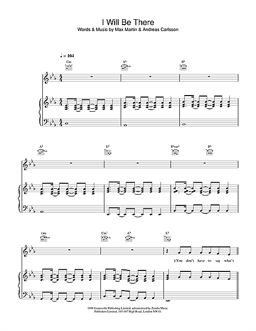 Britney Spears I Will Be There sheet music notes and chords