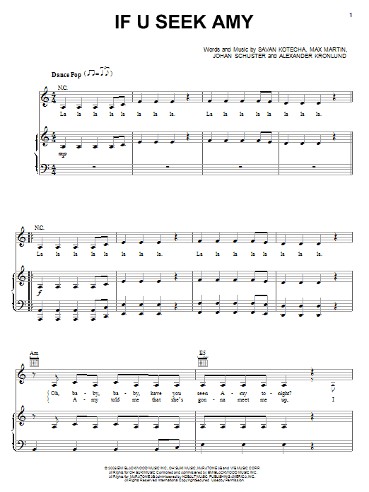 Britney Spears If U Seek Amy sheet music notes and chords. Download Printable PDF.