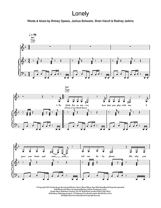 Britney Spears Lonely sheet music notes and chords
