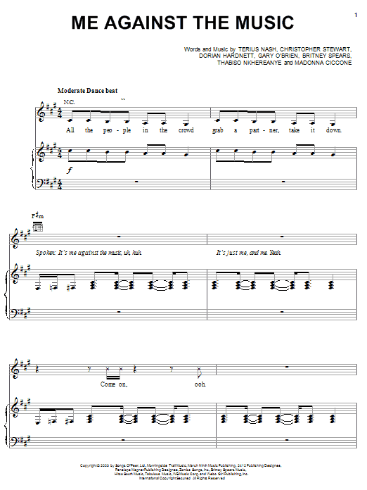 Britney Spears Me Against The Music (feat. Madonna) sheet music notes and chords. Download Printable PDF.
