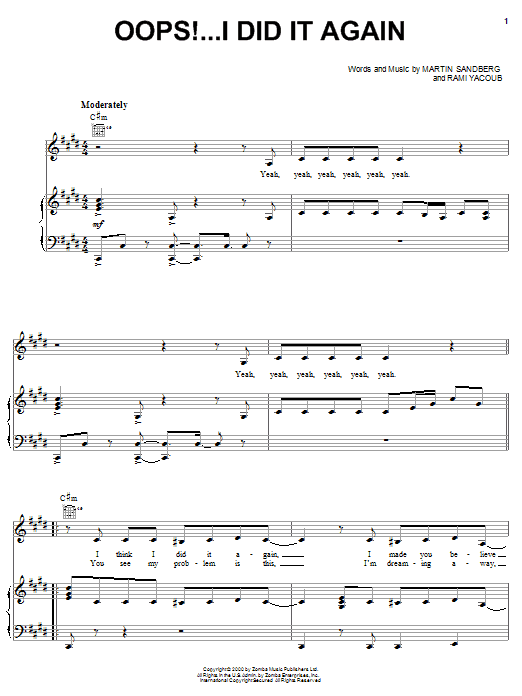 Britney Spears Oops!...I Did It Again sheet music notes and chords. Download Printable PDF.