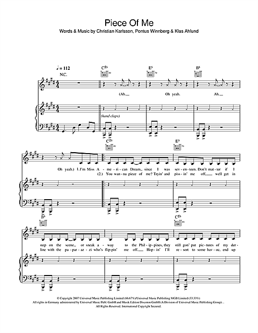 Britney Spears Piece Of Me sheet music notes and chords