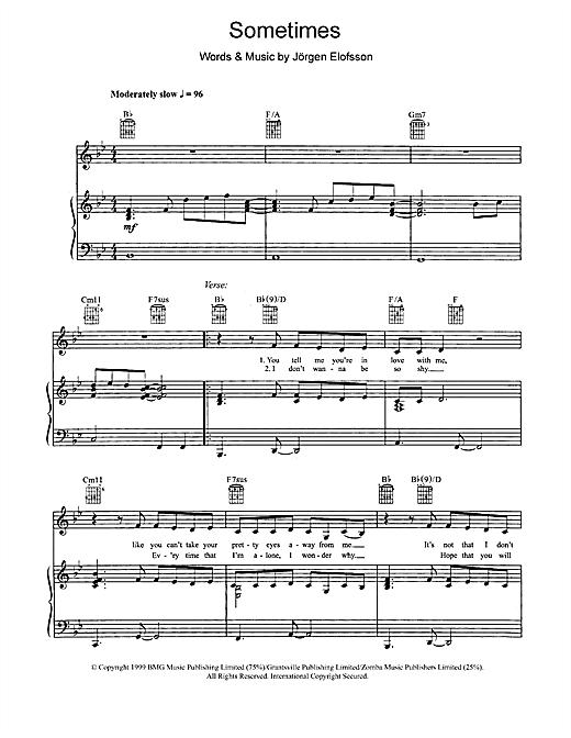Britney Spears Sometimes sheet music notes and chords. Download Printable PDF.