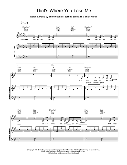 Britney Spears That's Where You Take Me sheet music notes and chords. Download Printable PDF.