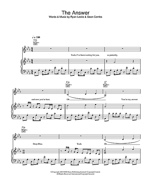Britney Spears The Answer sheet music notes and chords