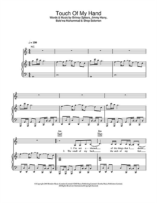 Britney Spears Touch Of My Hand sheet music notes and chords