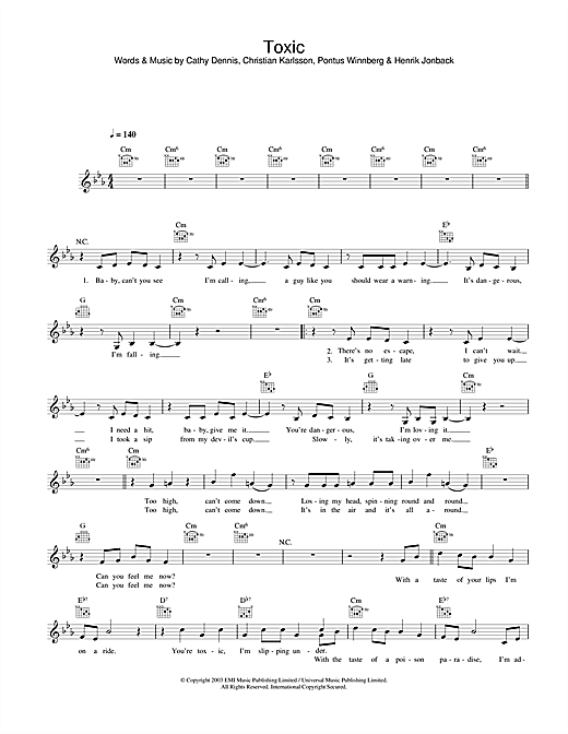 Britney Spears Toxic sheet music notes and chords