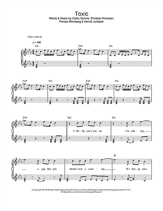 Britney Spears Toxic sheet music notes and chords. Download Printable PDF.