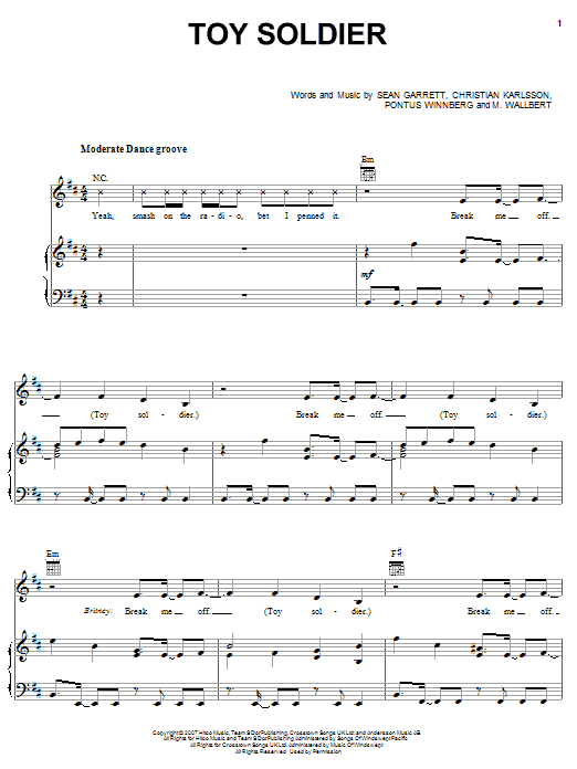 Britney Spears Toy Soldier sheet music notes and chords