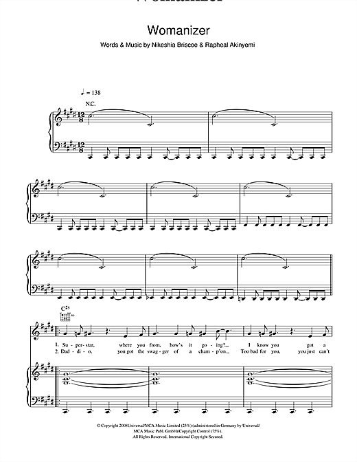 Britney Spears Womanizer sheet music notes and chords. Download Printable PDF.