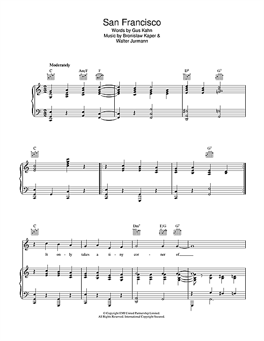 Bronislaw Kaper San Francisco sheet music notes and chords