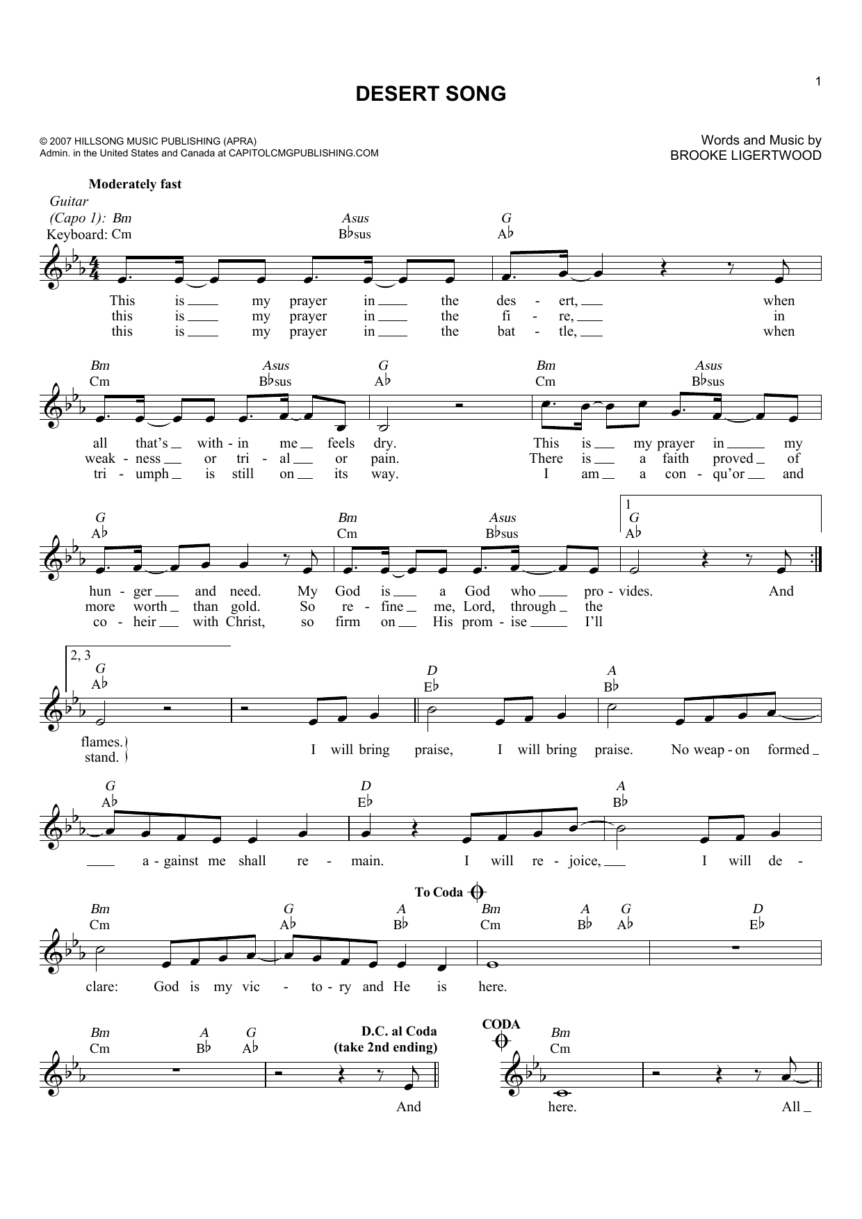 Brooke Ligertwood Desert Song sheet music notes and chords. Download Printable PDF.