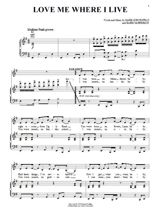 Brooklyn The Musical Love Me Where I Live sheet music notes and chords. Download Printable PDF.