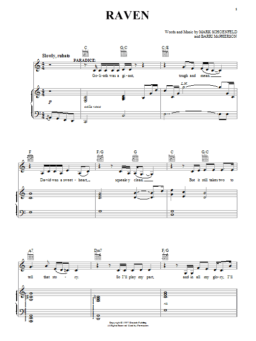 Brooklyn The Musical Raven sheet music notes and chords. Download Printable PDF.