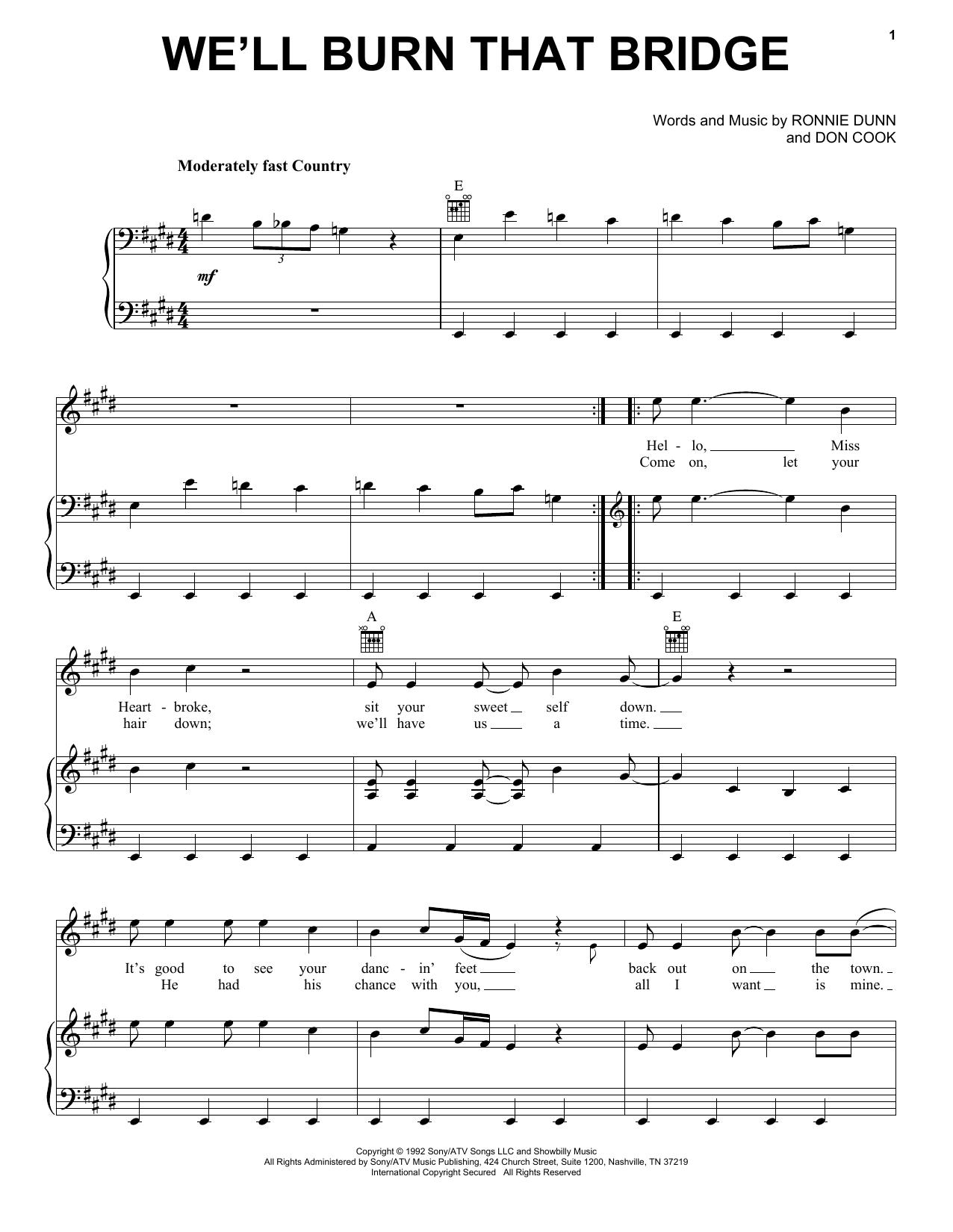Brooks & Dunn We'll Burn That Bridge sheet music notes and chords. Download Printable PDF.