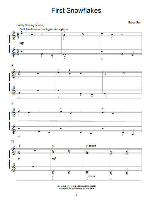 Bruce Berr First Snowflakes sheet music notes and chords. Download Printable PDF.