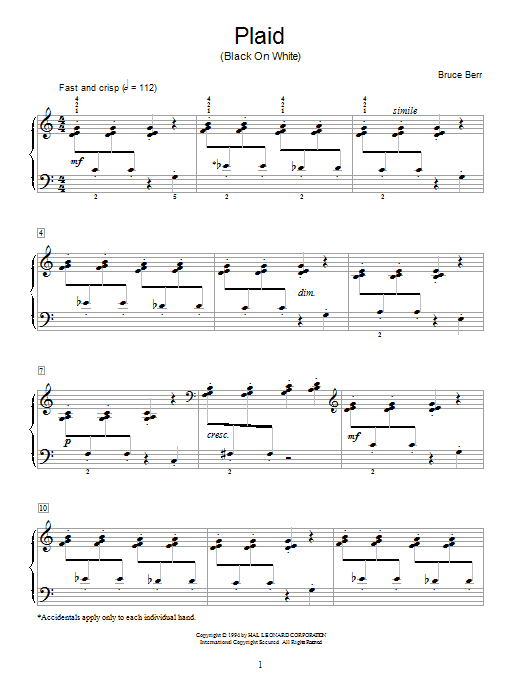Bruce Berr Plaid (Black On White) sheet music notes and chords. Download Printable PDF.