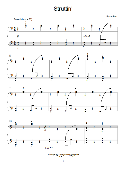 Bruce Berr Struttin' sheet music notes and chords. Download Printable PDF.