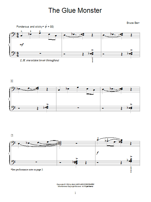Bruce Berr The Glue Monster sheet music notes and chords. Download Printable PDF.
