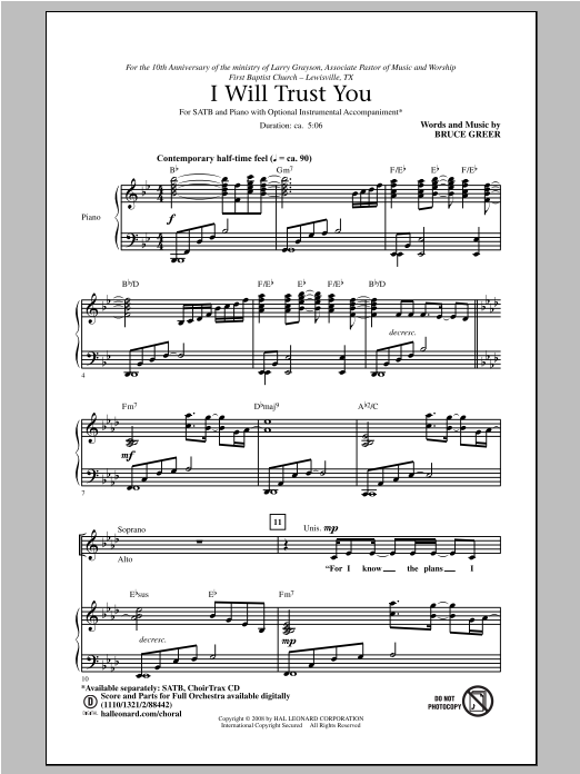 Bruce Greer I Will Trust You sheet music notes and chords. Download Printable PDF.