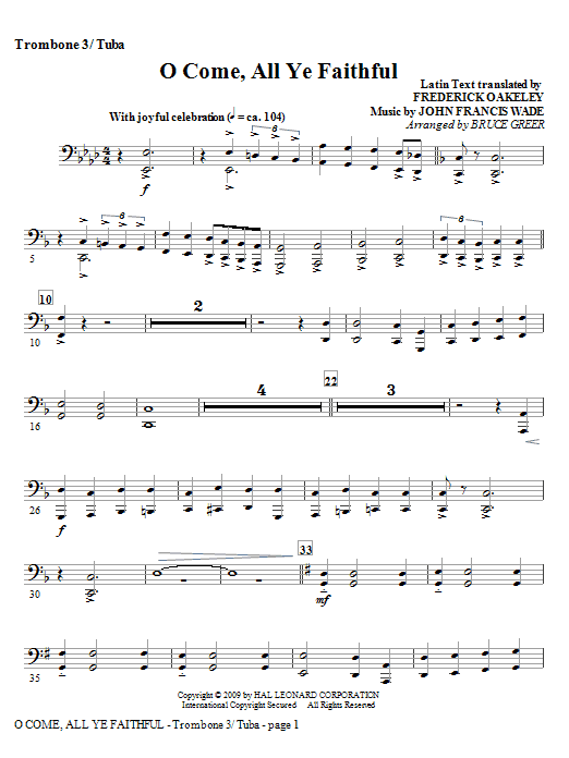Bruce Greer O Come, All Ye Faithful - Trombone 3/Tuba sheet music notes and chords