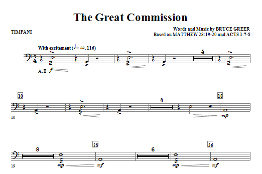 Bruce Greer The Great Commission - Timpani sheet music notes and chords. Download Printable PDF.