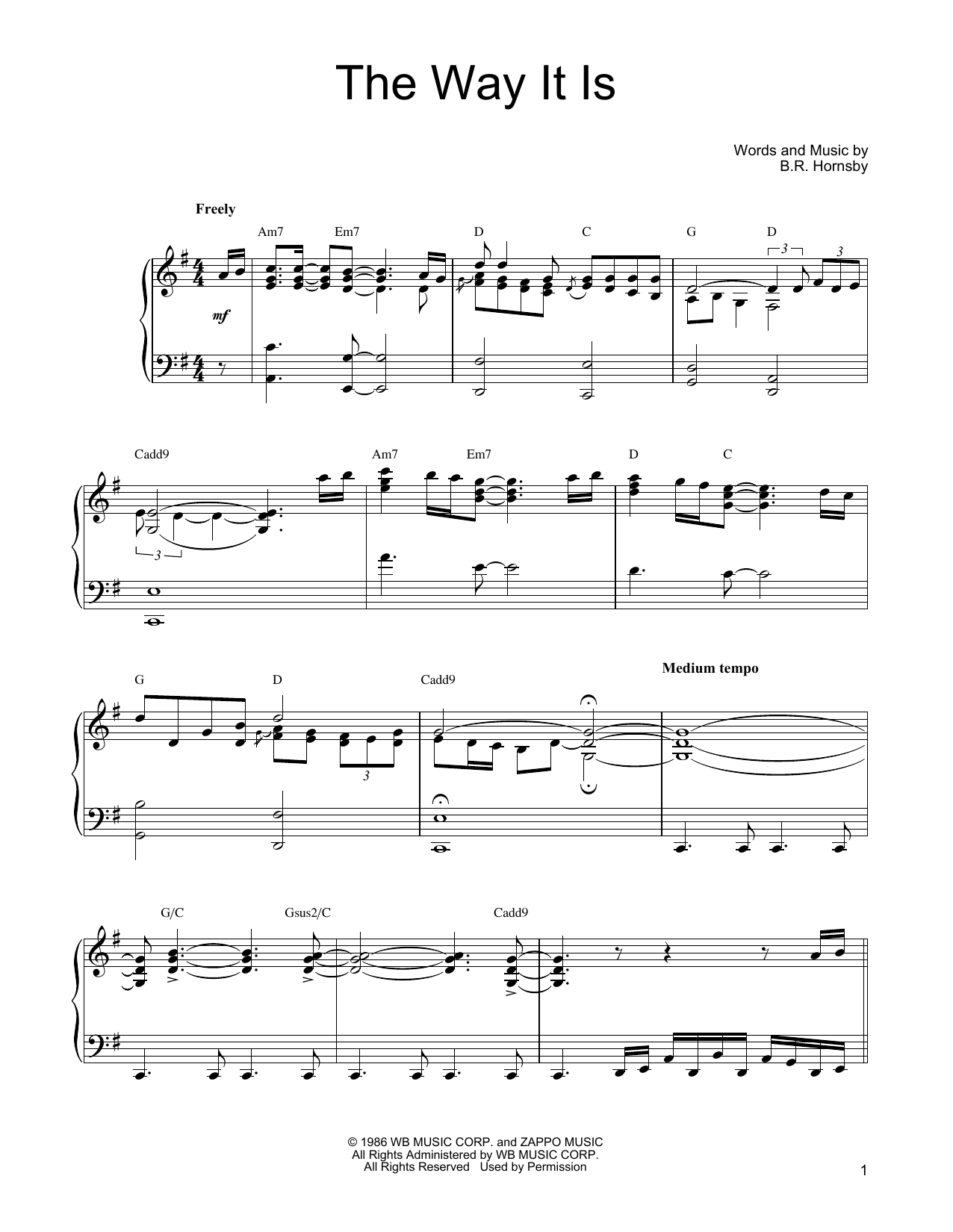 Bruce Hornsby The Way It Is sheet music notes and chords. Download Printable PDF.