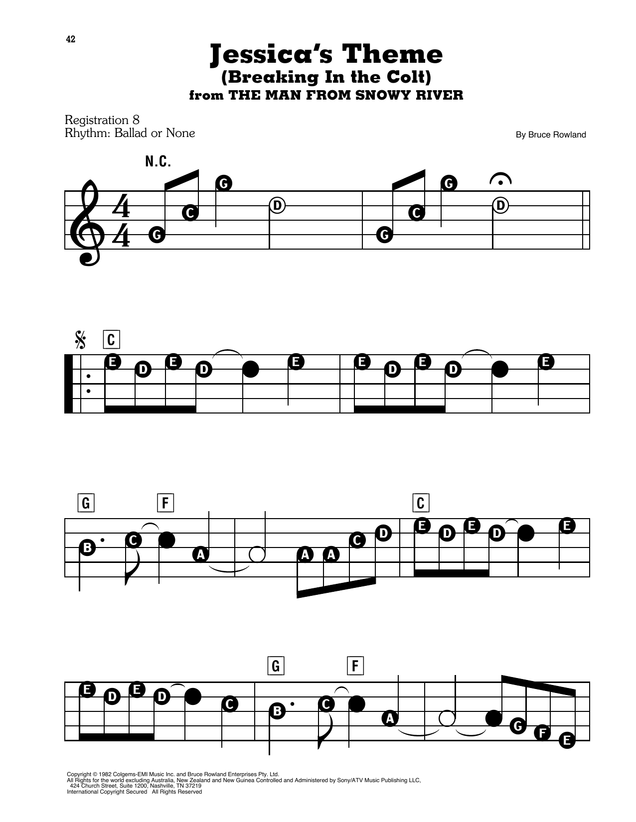 Bruce Rowland Jessica's Theme (Breaking In The Colt) (from The Man From Snowy River) sheet music notes and chords. Download Printable PDF.