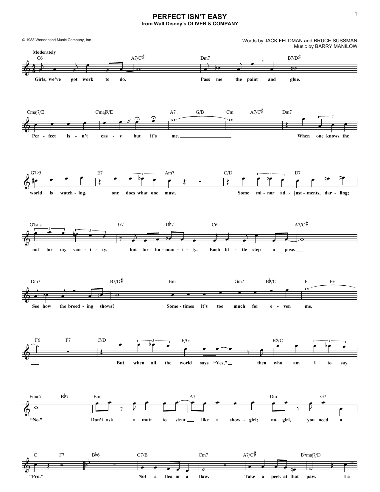 Bruce Sussman Perfect Isn't Easy sheet music notes and chords. Download Printable PDF.